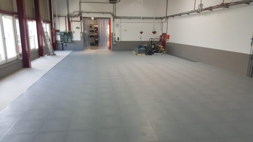 Pvc Fliese Boden Platte Jp Industrial Orangenahaut Verdeckte Verbindung Industrie Gewerbe Handel Produktion Verkehrsgrau